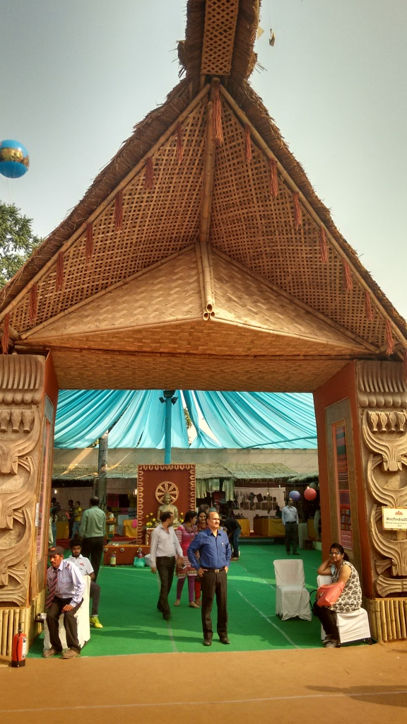 Entry to the exhibit, using bamboo and straws